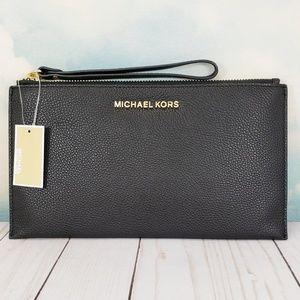Michael Kors Large Zip Clutch Wristlet Black